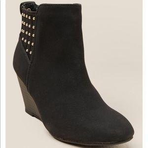 XOXO | Black Studded Wedge Bootie Size 10